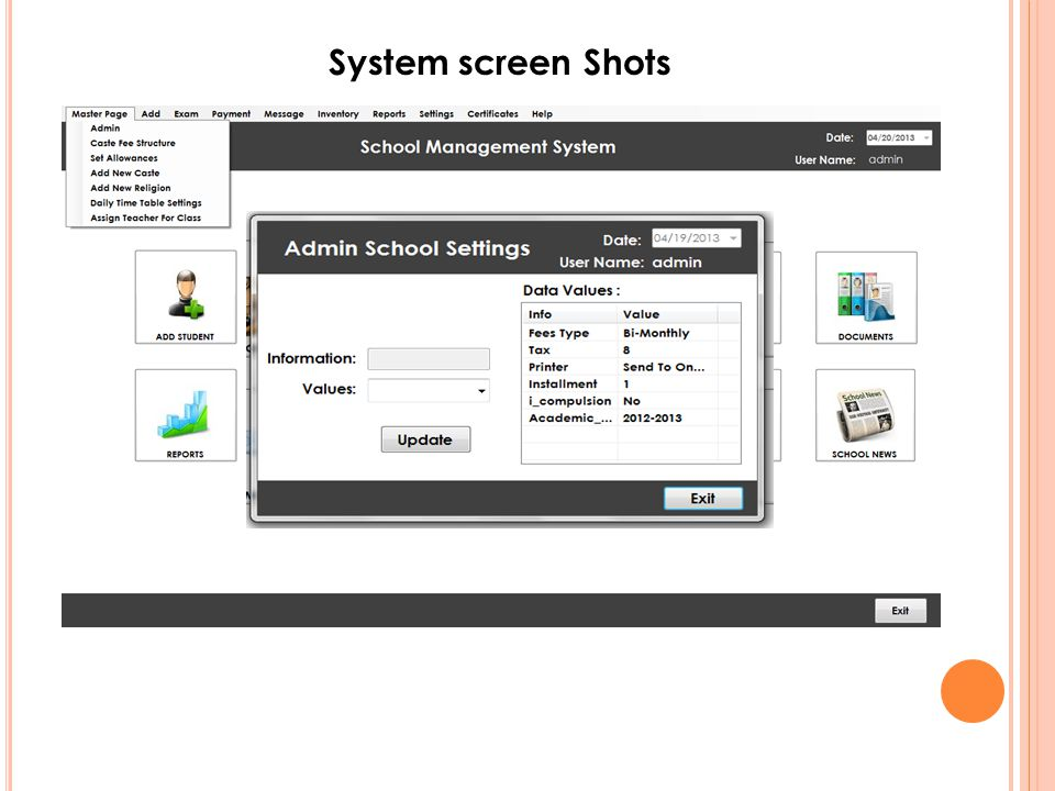 System screen Shots