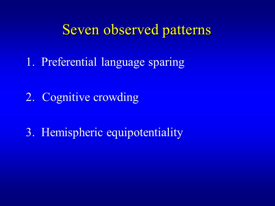 Seven observed patterns