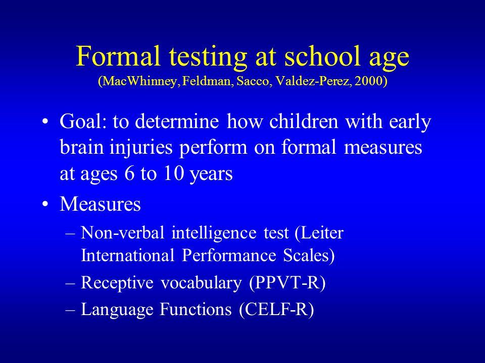 Formal testing at school age (MacWhinney, Feldman, Sacco, Valdez-Perez, 2000)