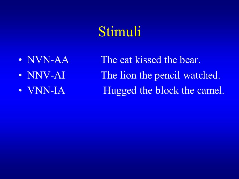 Stimuli NVN-AA The cat kissed the bear.