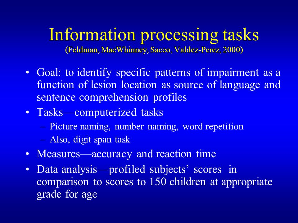 Information processing tasks (Feldman, MacWhinney, Sacco, Valdez-Perez, 2000)