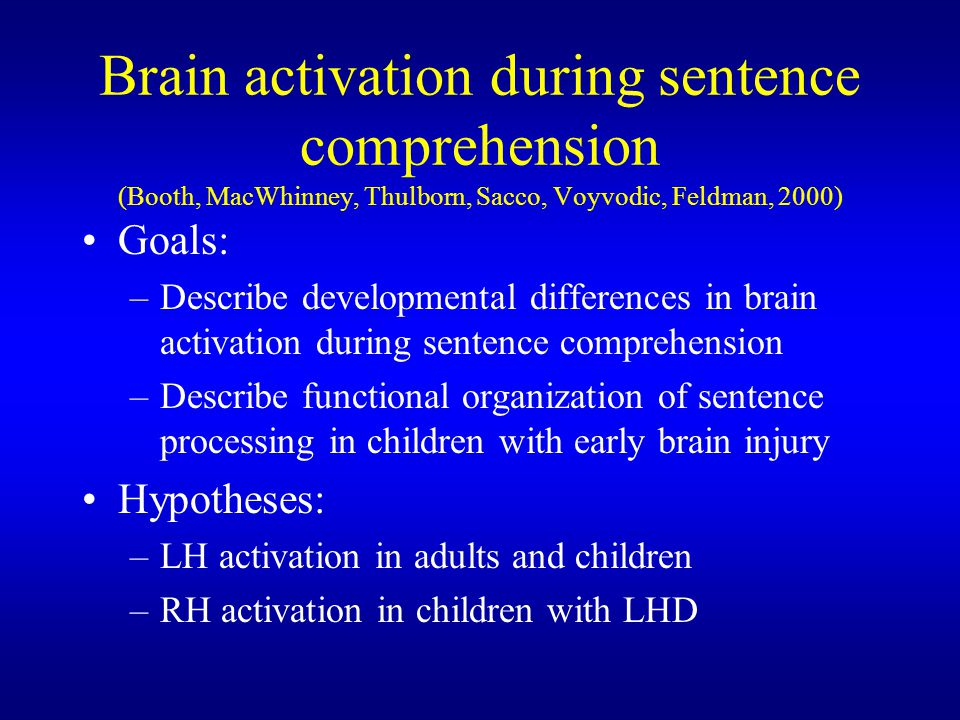 Brain activation during sentence comprehension (Booth, MacWhinney, Thulborn, Sacco, Voyvodic, Feldman, 2000)