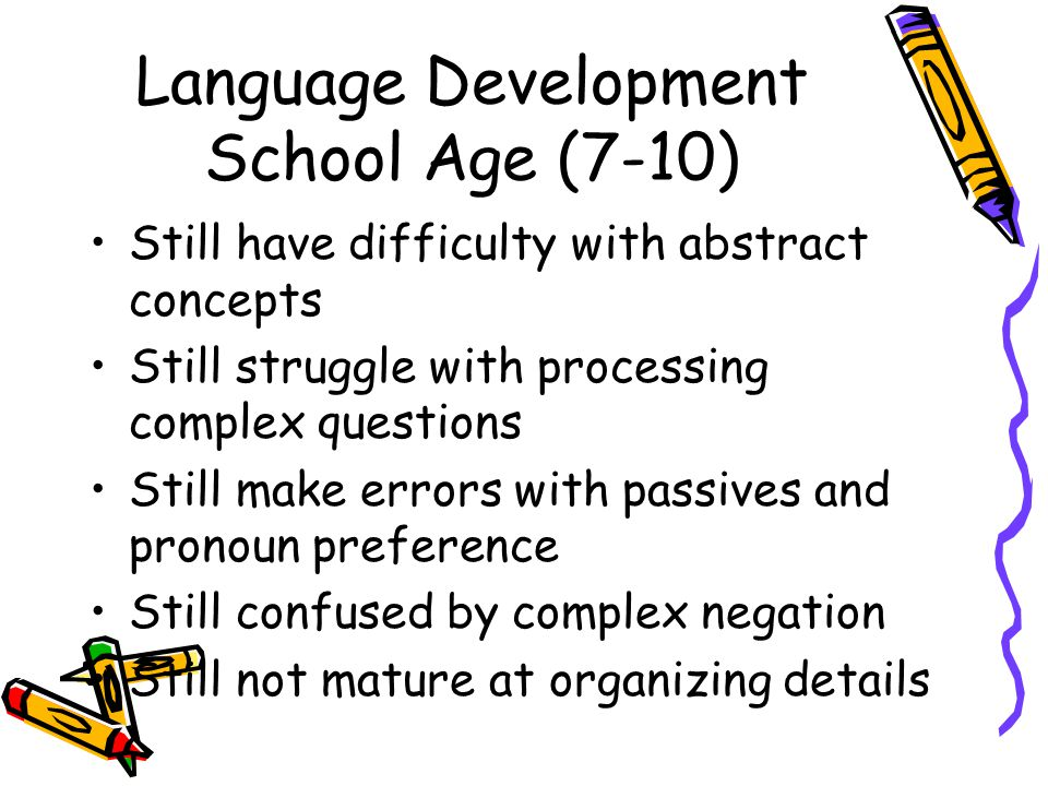 Language Development School Age (7-10)