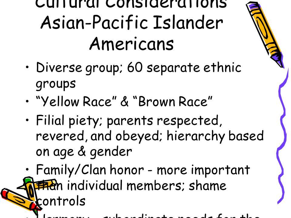 Cultural Considerations Asian-Pacific Islander Americans