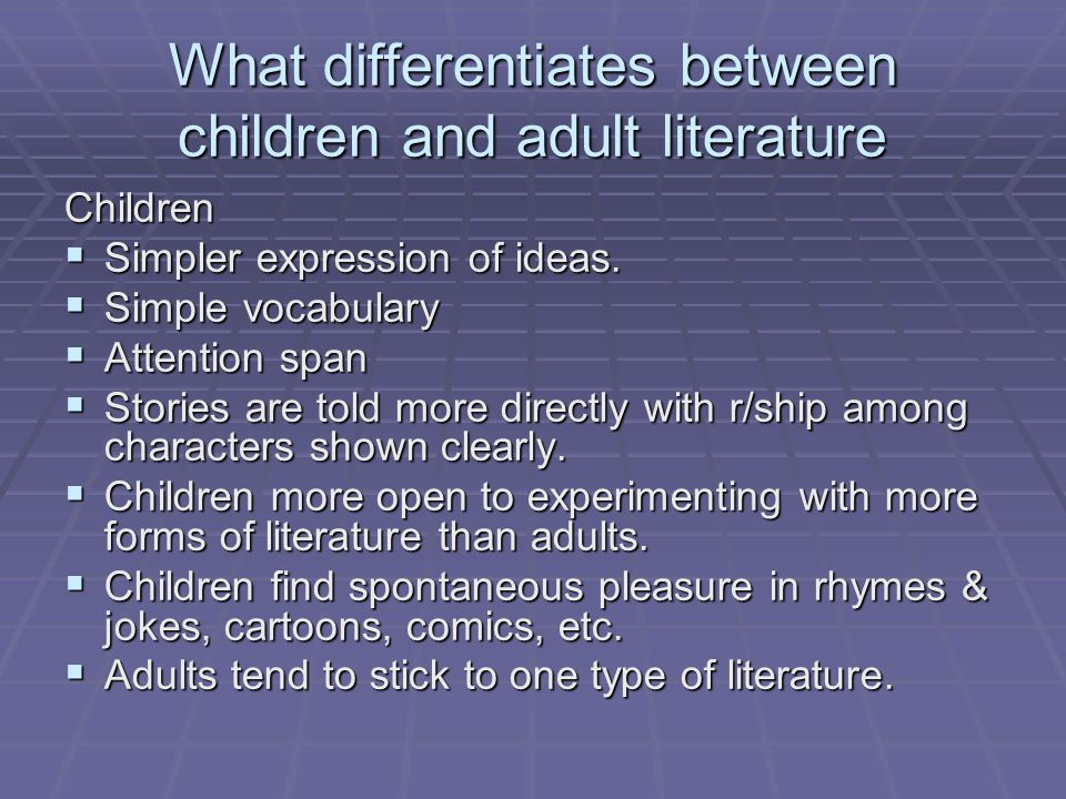 What differentiates between children and adult literature
