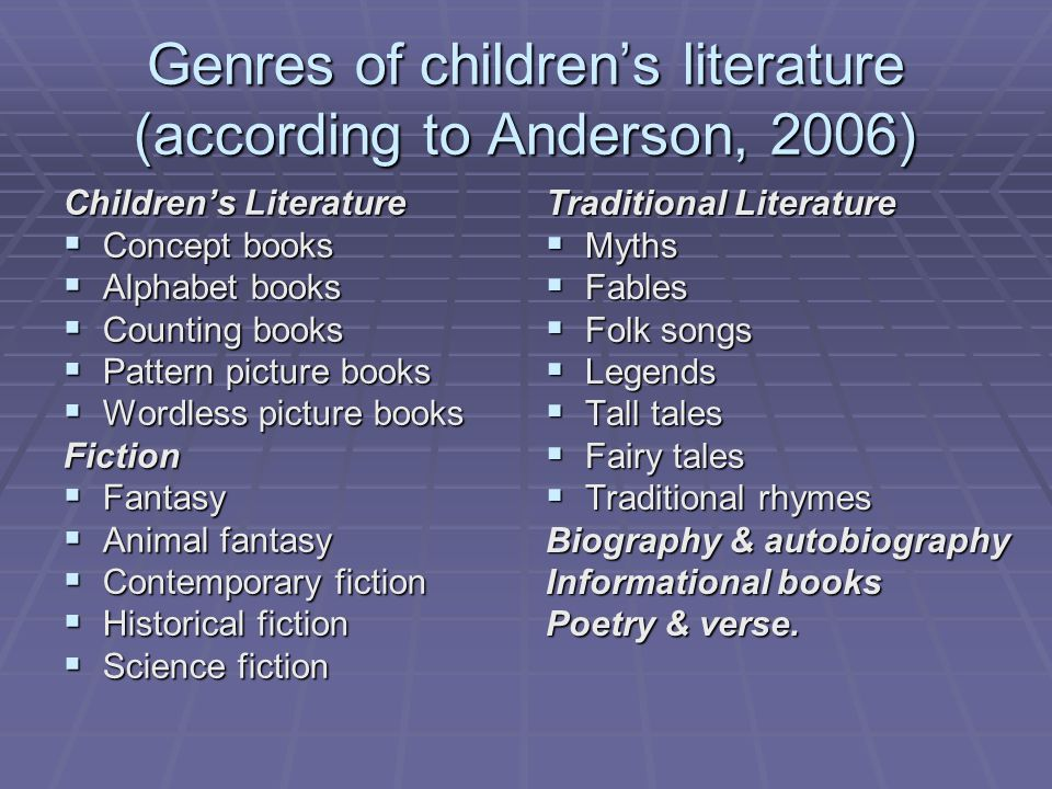 Genres of children's literature (according to Anderson, 2006)