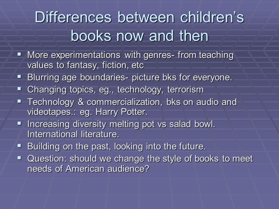 Differences between children's books now and then