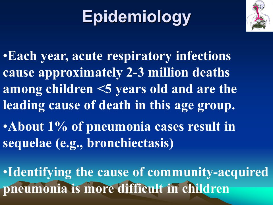 Epidemiology Each year, acute respiratory infections