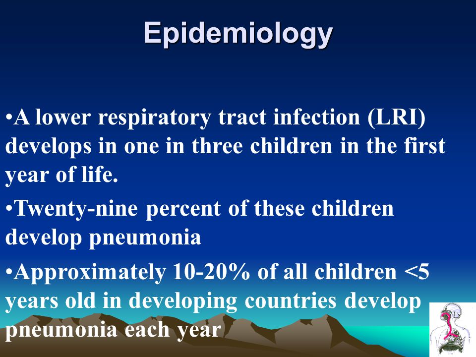 Epidemiology A lower respiratory tract infection (LRI) develops in one in three children in the first year of life.