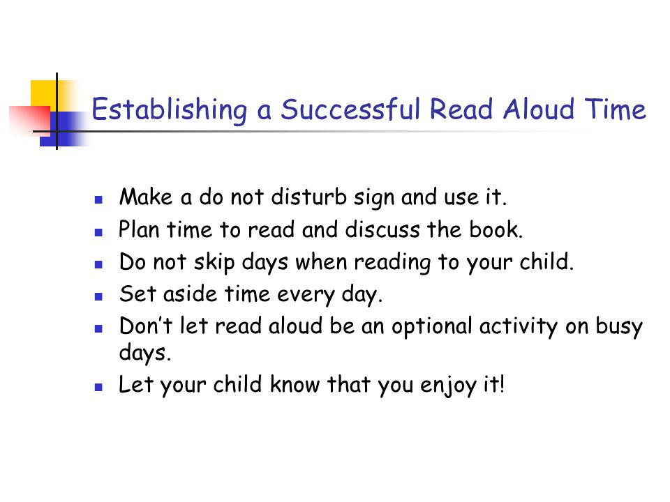 Establishing a Successful Read Aloud Time