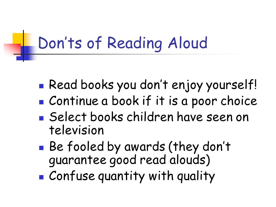 Don'ts of Reading Aloud