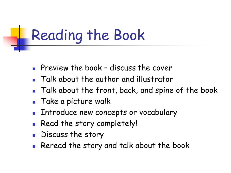 Reading the Book Preview the book – discuss the cover