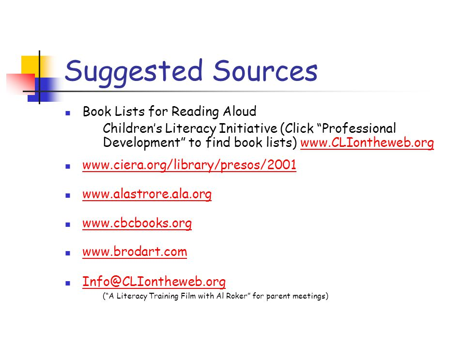 Suggested Sources Book Lists for Reading Aloud