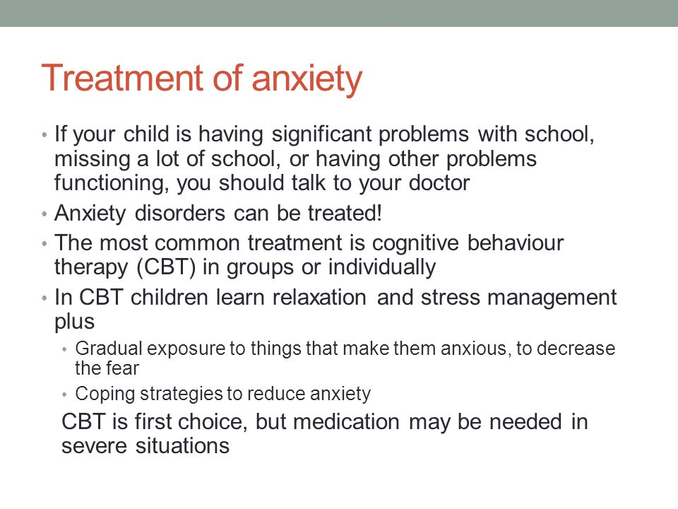 Treatment of anxiety