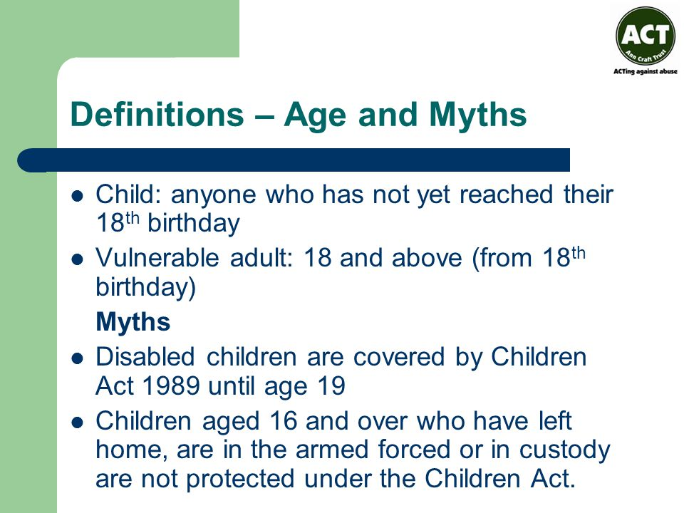 Definitions – Age and Myths