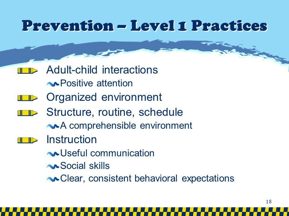Prevention – Level 1 Practices