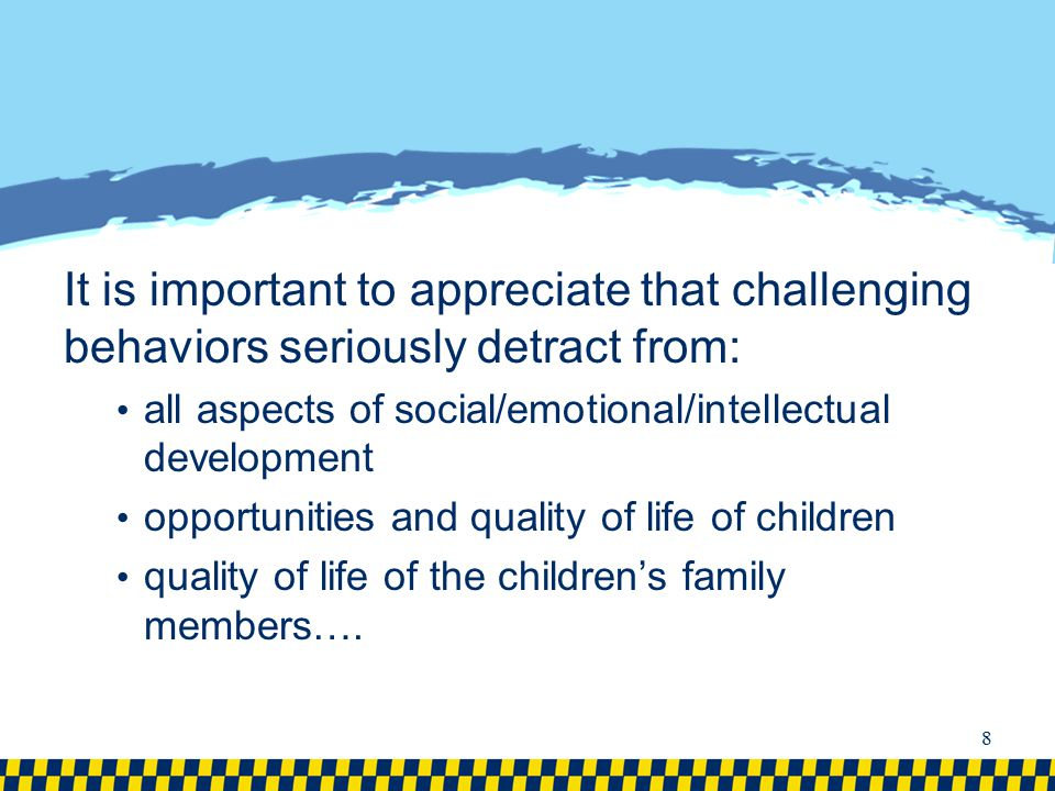 It is important to appreciate that challenging behaviors seriously detract from: