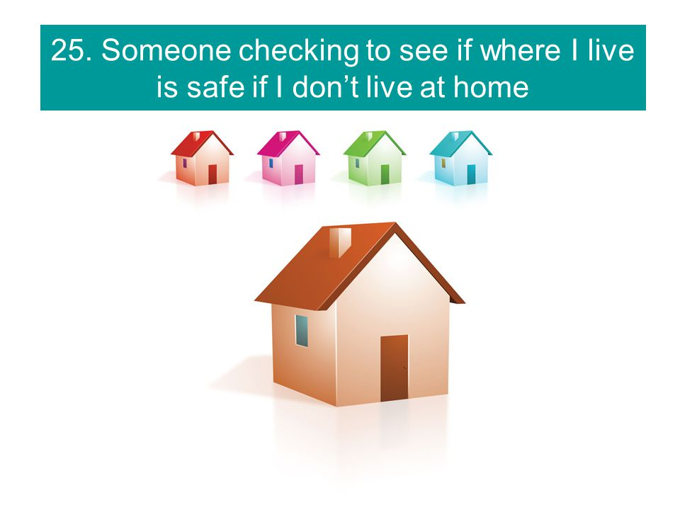 25. Someone checking to see if where I live is safe if I don't live at home