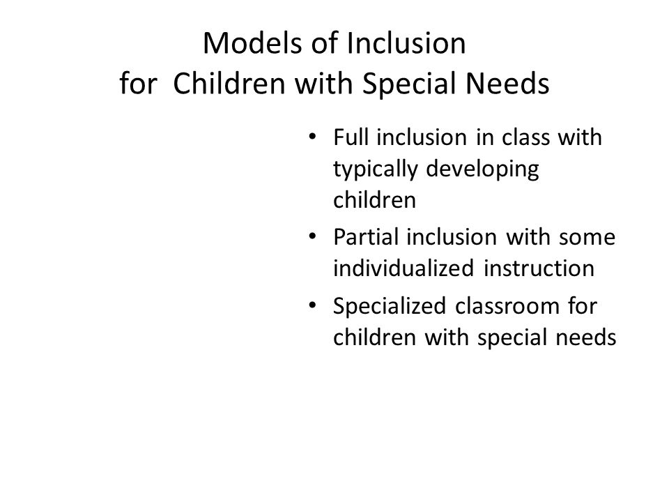 Models of Inclusion for Children with Special Needs