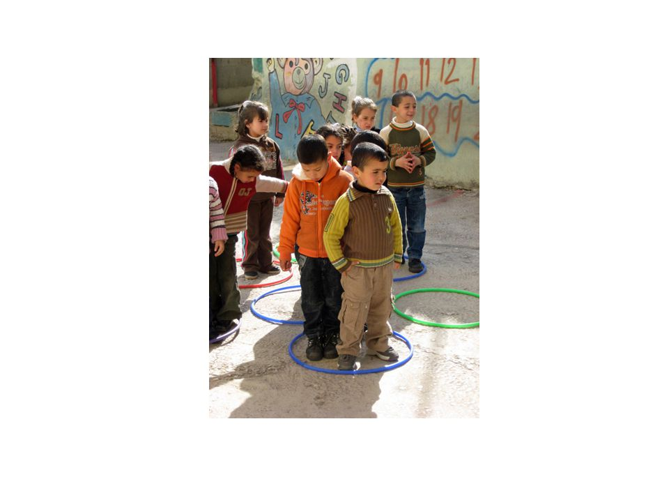 This is a game that was an activity for the Peace and Conflict Resolution Curriculum at the Hobar Preschool. In it, nine hula hoops were scattered on the ground: three red, three blue, and three green. When the teacher called out the name of a color, all the children were to step into a ring of that color as quickly as possible. This was a cooperative game. The children helped each other find a ring of the correct color where there was space for them.