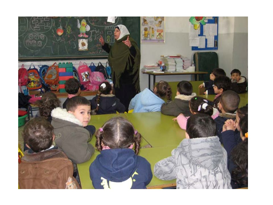 This teacher at the Mount of Olives Preschool is helping the children in her class develop a skit in which a group of children work together to fend off a threat (peacefully, of course!). The children are making suggestions for the plot of the skit, and making decisions about who will play which role.