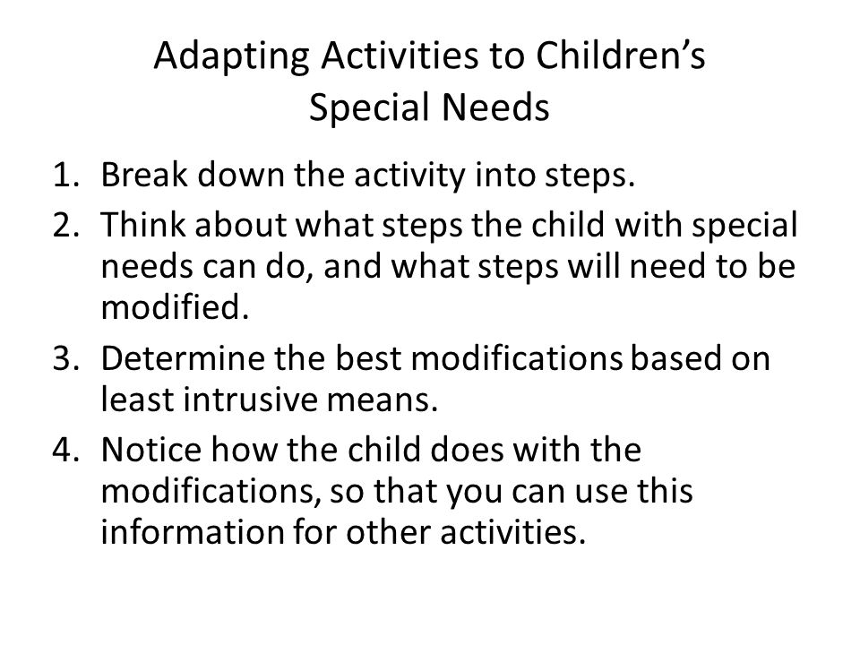 Adapting Activities to Children's Special Needs
