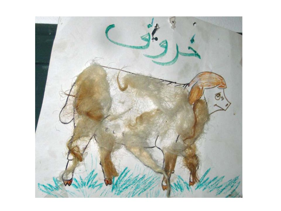 As an example, suppose you are going to give children a paper with a sheep drawn on it, and you want them to produce something like this, by coloring the sheep and cutting and pasting lambs' fleece on it. One of the children in your class is developmentally delayed, functioning at the level of a 2-year-old.