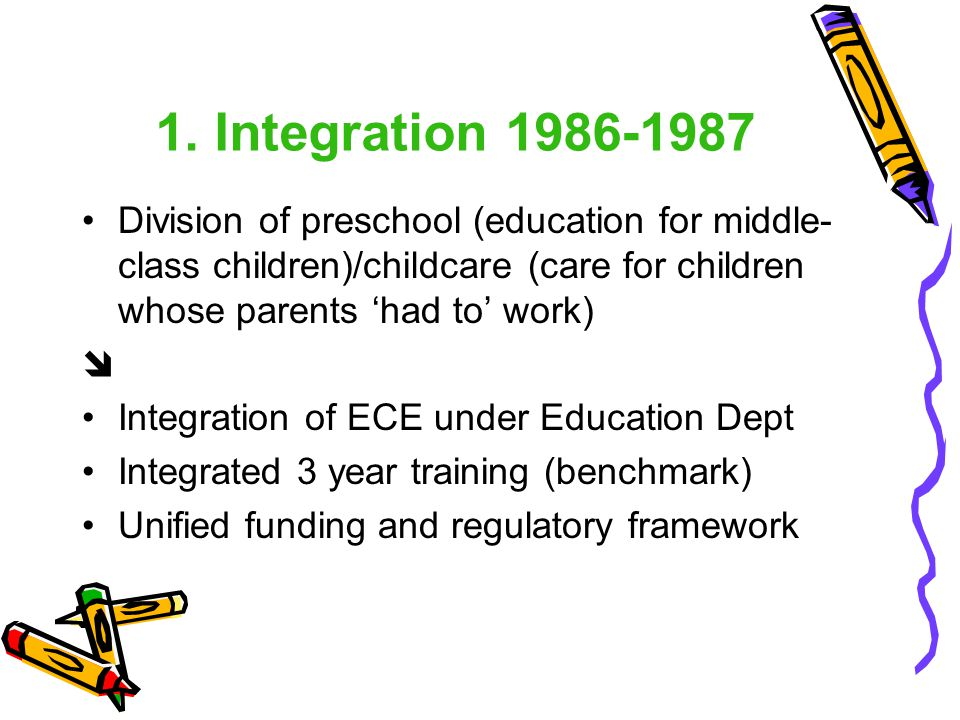 1. Integration 1986-1987 Division of preschool (education for middle-class children)/childcare (care for children whose parents 'had to' work)