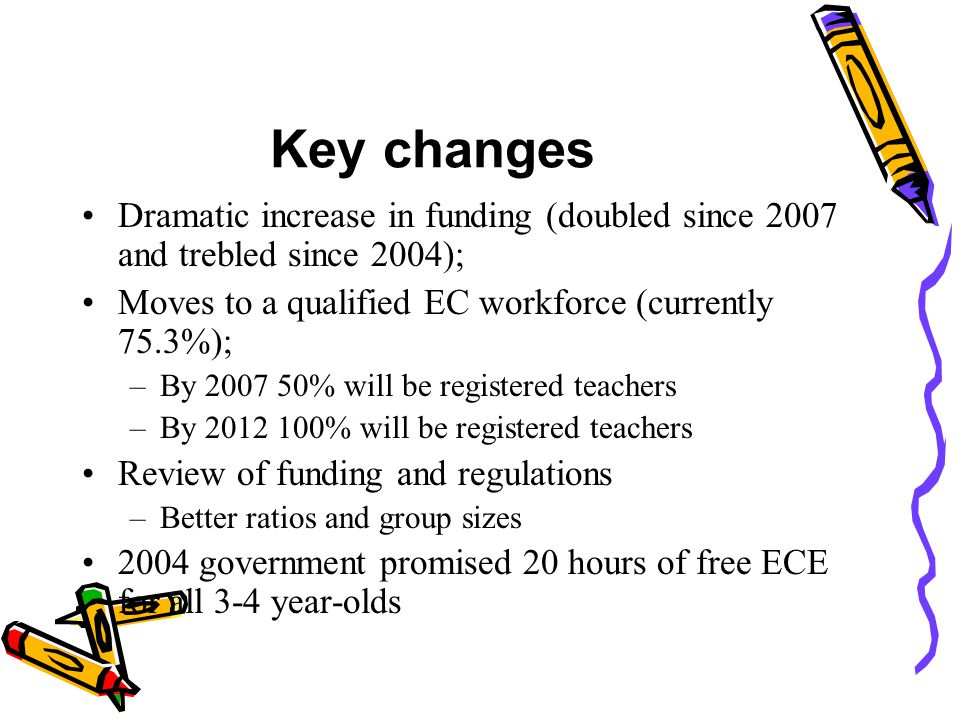Key changes Dramatic increase in funding (doubled since 2007 and trebled since 2004); Moves to a qualified EC workforce (currently 75.3%);