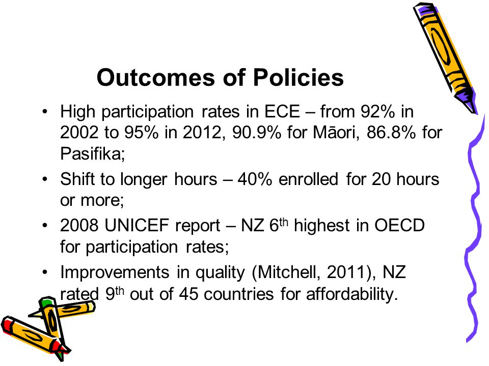 Outcomes of Policies High participation rates in ECE – from 92% in 2002 to 95% in 2012, 90.9% for Māori, 86.8% for Pasifika;