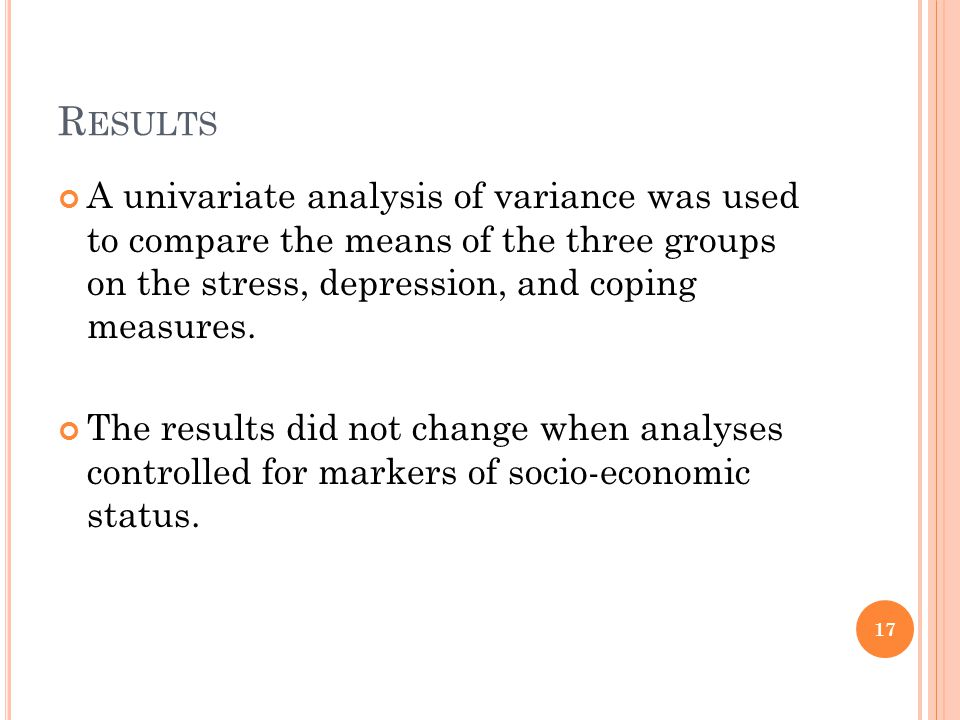 Results A univariate analysis of variance was used to compare the means of the three groups on the stress, depression, and coping measures.