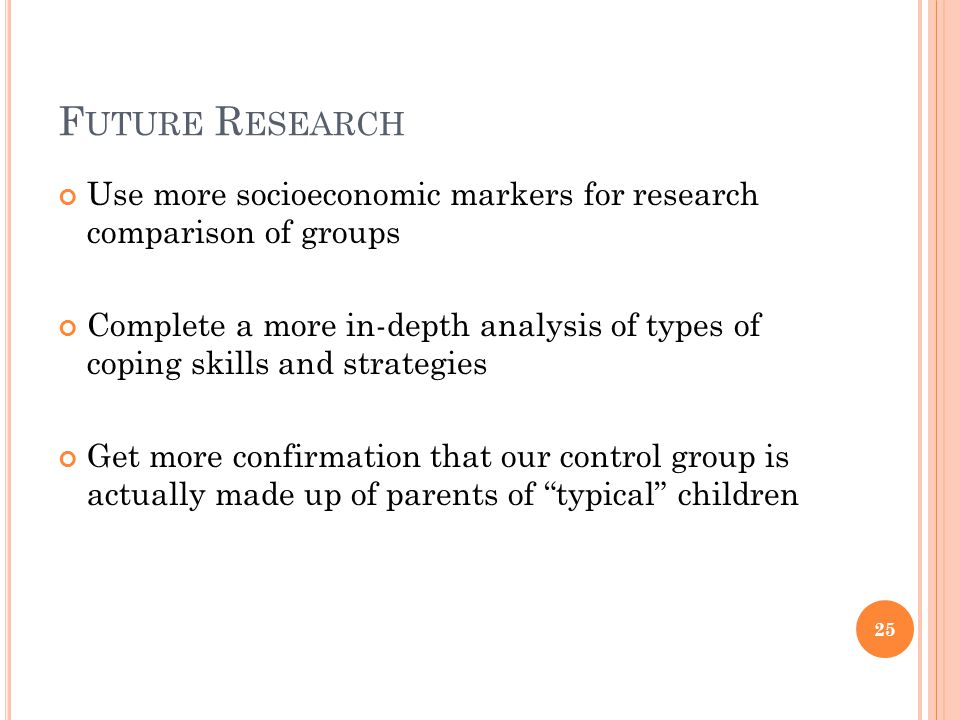 Future Research Use more socioeconomic markers for research comparison of groups.