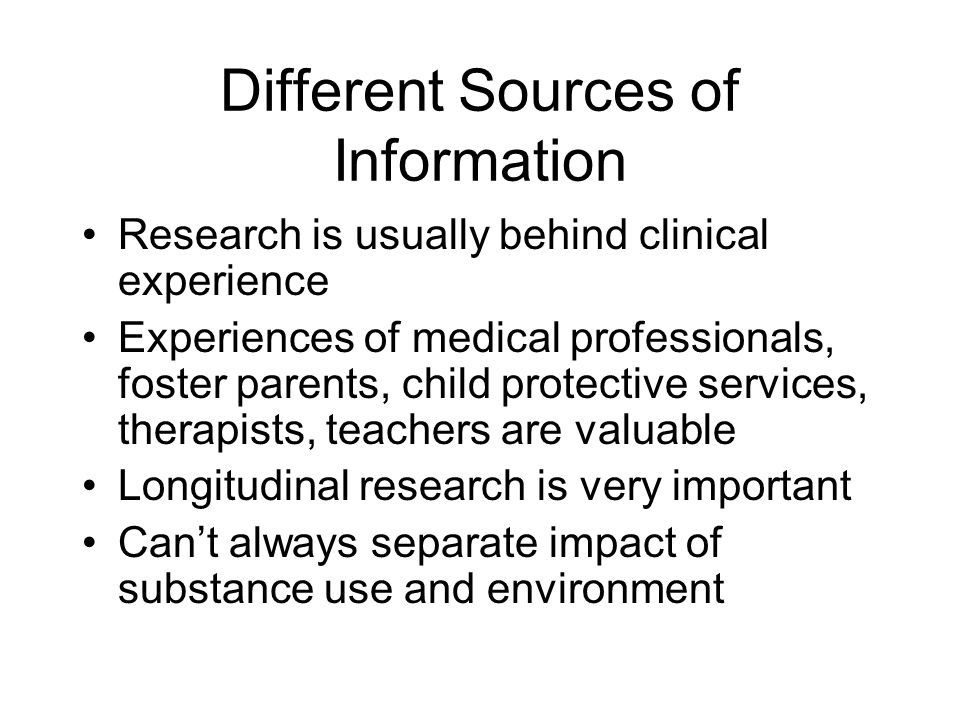 Different Sources of Information