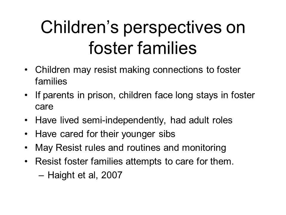 Children's perspectives on foster families
