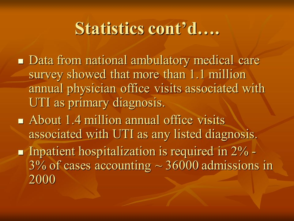 Statistics cont'd….