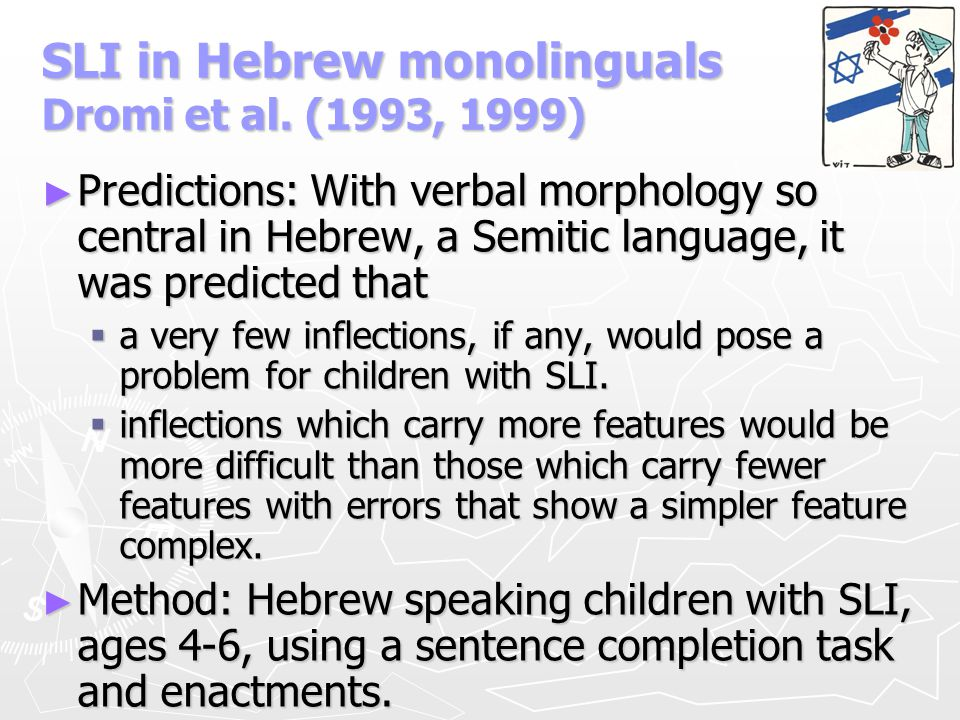 SLI in Hebrew monolinguals Dromi et al. (1993, 1999)