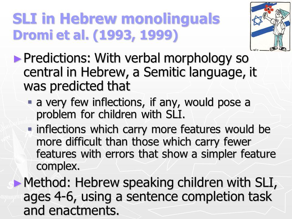 SLI in Hebrew monolinguals Dromi et al. (1993, 1999)