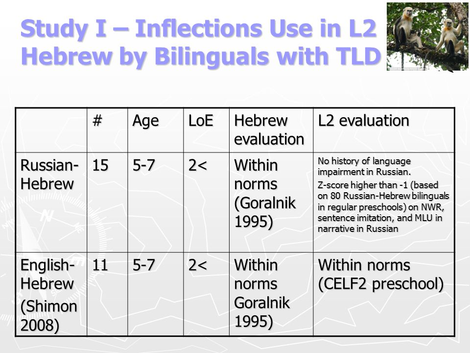 Study I – Inflections Use in L2 Hebrew by Bilinguals with TLD