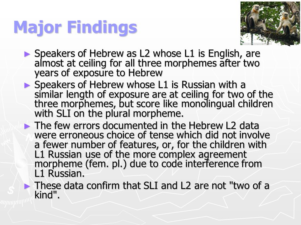 Major Findings Speakers of Hebrew as L2 whose L1 is English, are almost at ceiling for all three morphemes after two years of exposure to Hebrew.