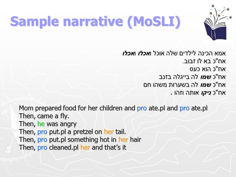 Sample narrative (MoSLI)