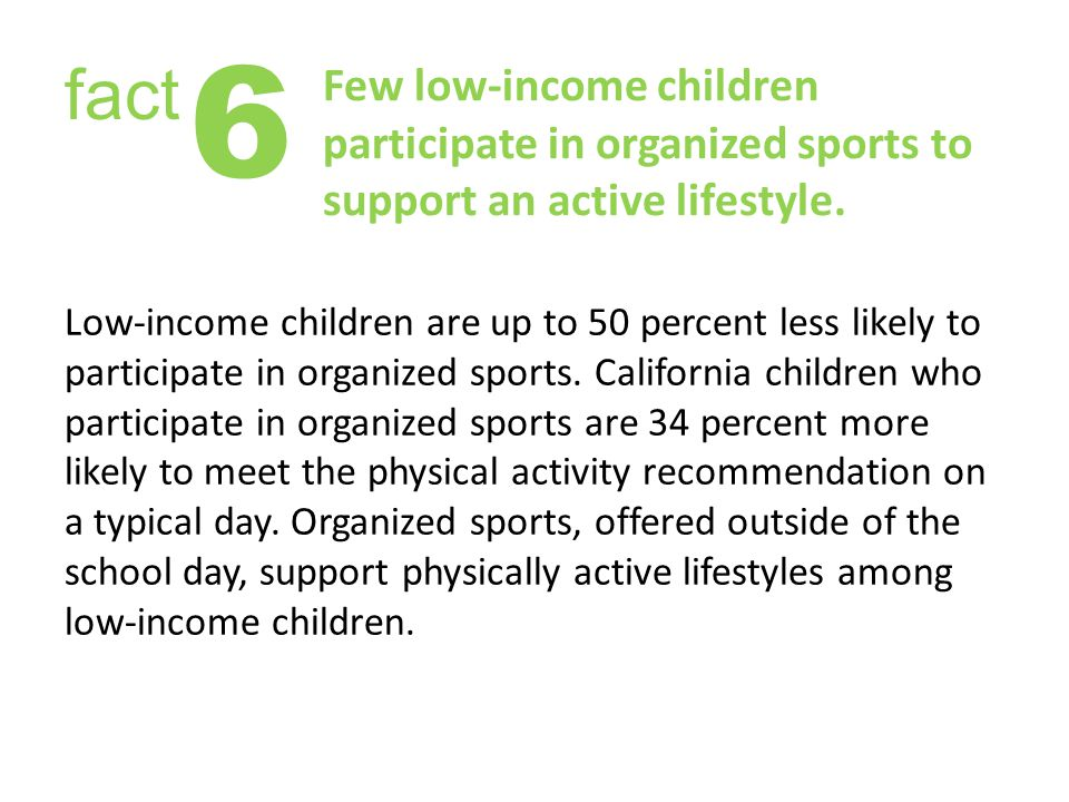 Few low-income children participate in organized sports to support an active lifestyle.