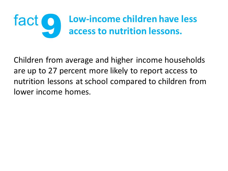 Low-income children have less access to nutrition lessons.