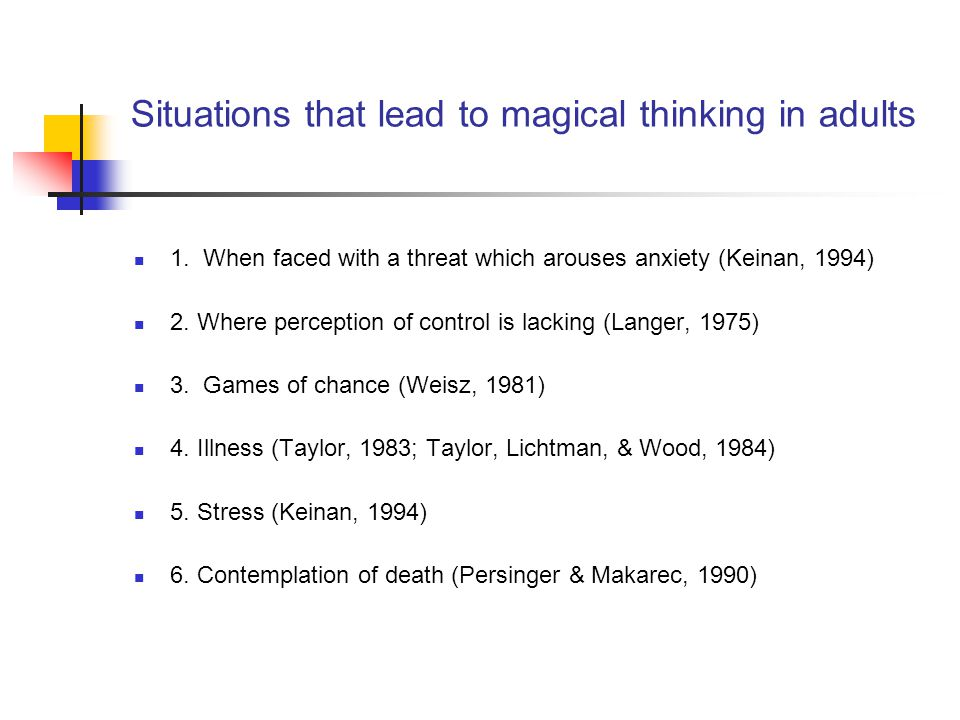Situations that lead to magical thinking in adults