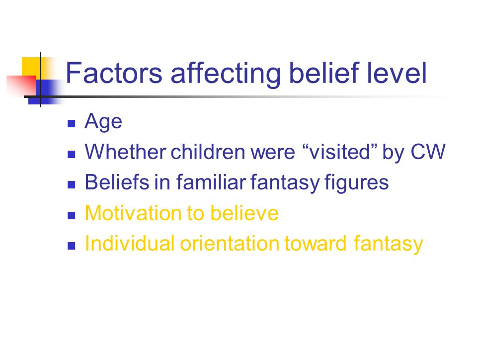 Factors affecting belief level