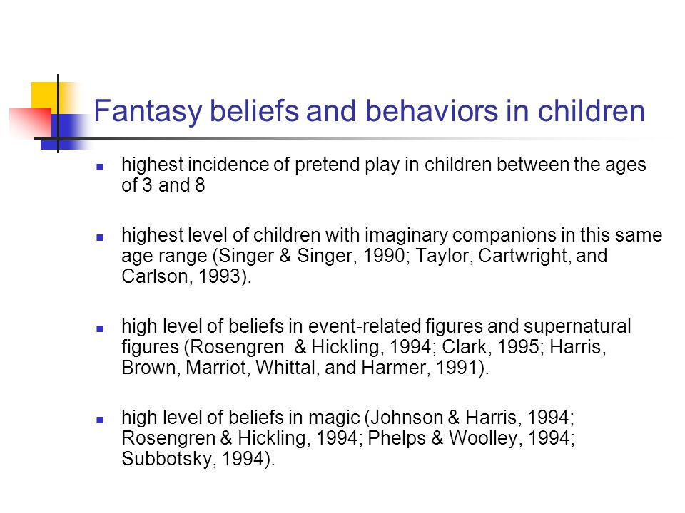 Fantasy beliefs and behaviors in children