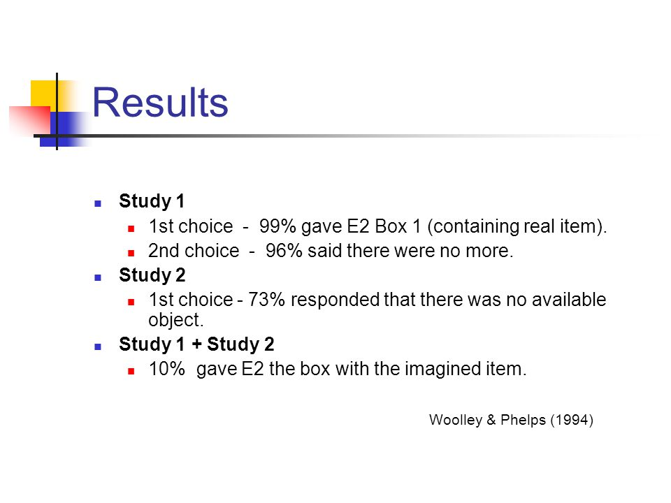 Results Study 1 1st choice - 99% gave E2 Box 1 (containing real item).