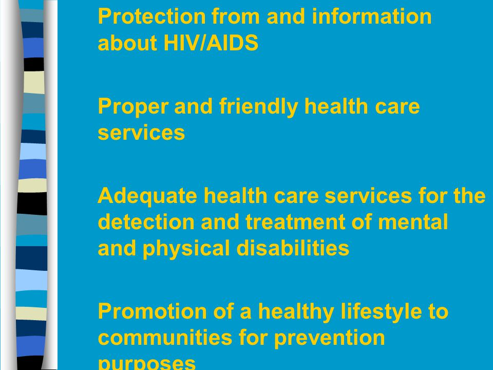 Protection from and information about HIV/AIDS