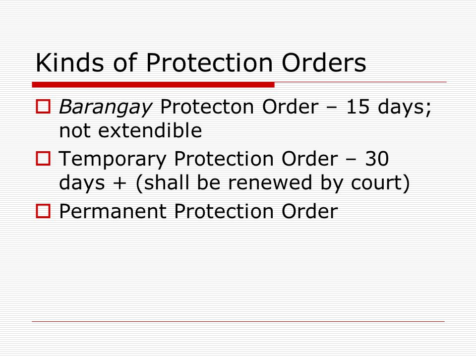 Kinds of Protection Orders
