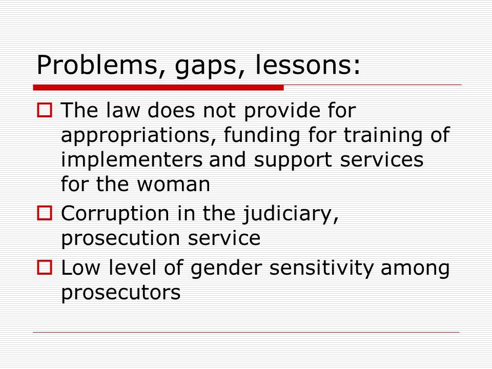 Problems, gaps, lessons: