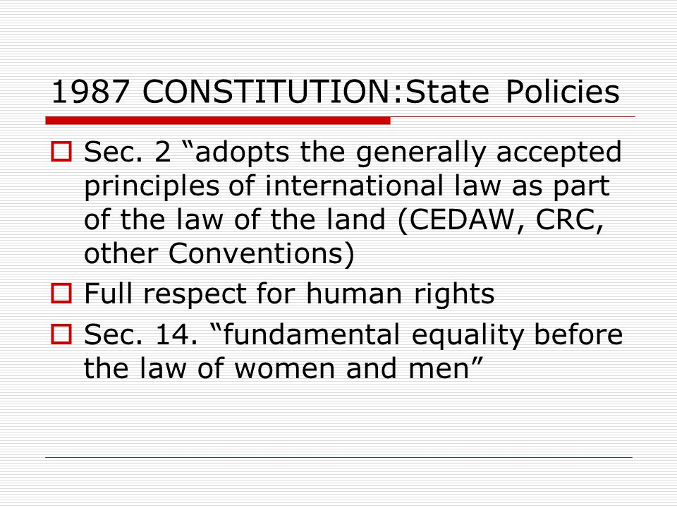 1987 CONSTITUTION:State Policies